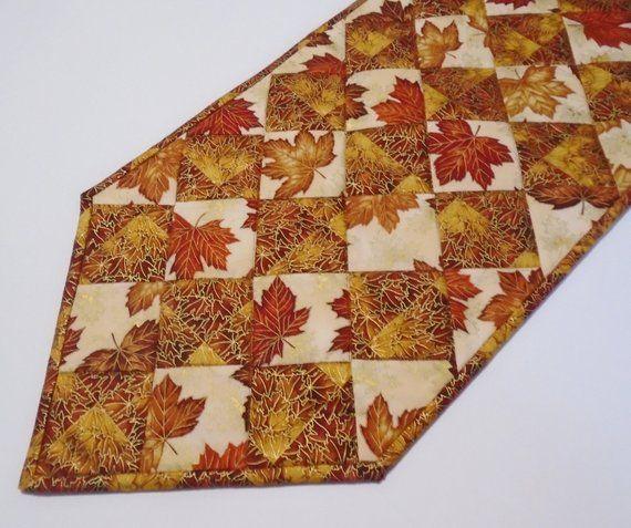Golden autumn table runner