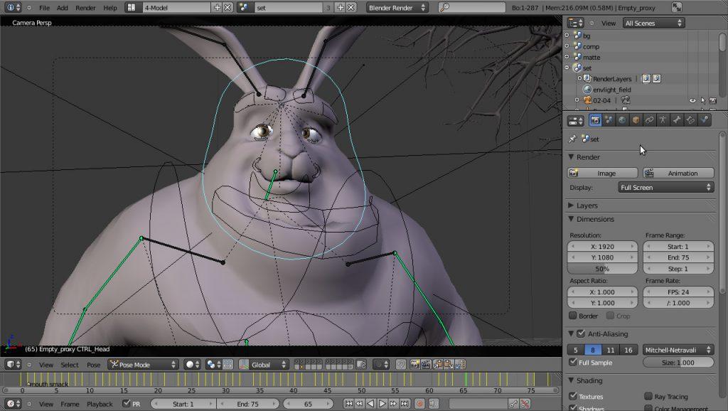 Imagem do espaço de trabalho do software Blender.