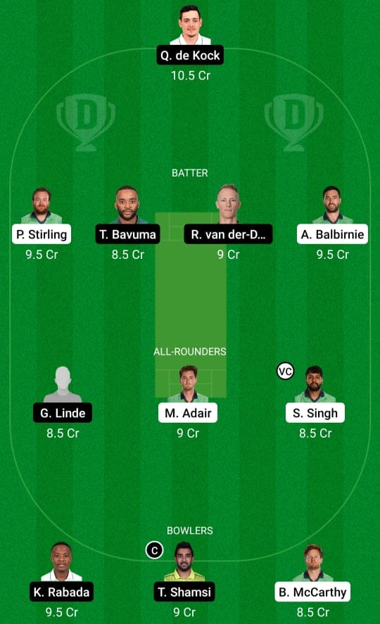 IRE vs SA 2nd T20 Dream11 Prediction Possible Playing 11 Pitch Report   IRE vs SA 2nd T20 Dream11 Prediction Today   Ireland vs South Africa 2nd T20I Key Players   Belfast Pitch Report