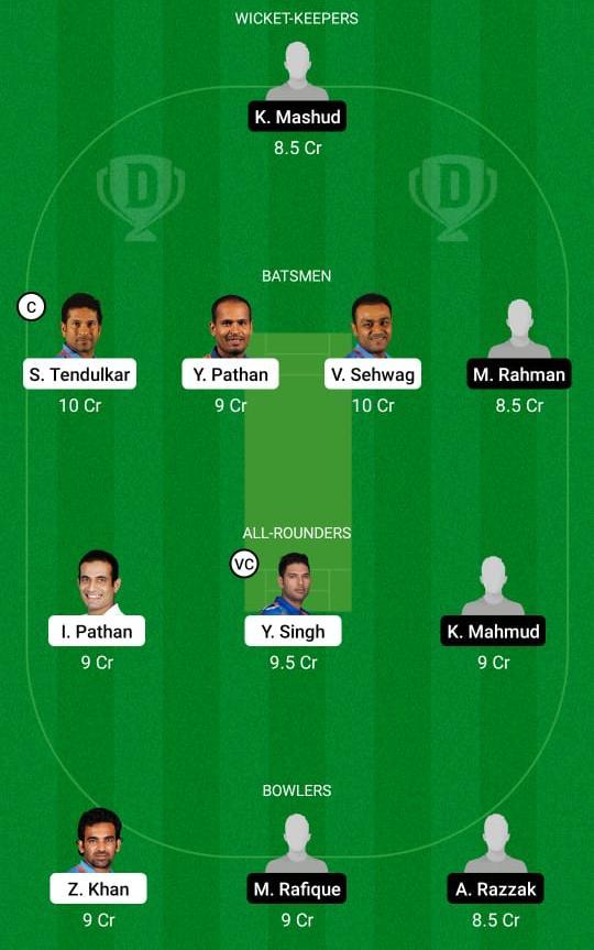 India Legends vs Bangladesh Legends Dream11 Prediction Fantasy Cricket Tips Dream11 Team Road Safety T20 World Series
