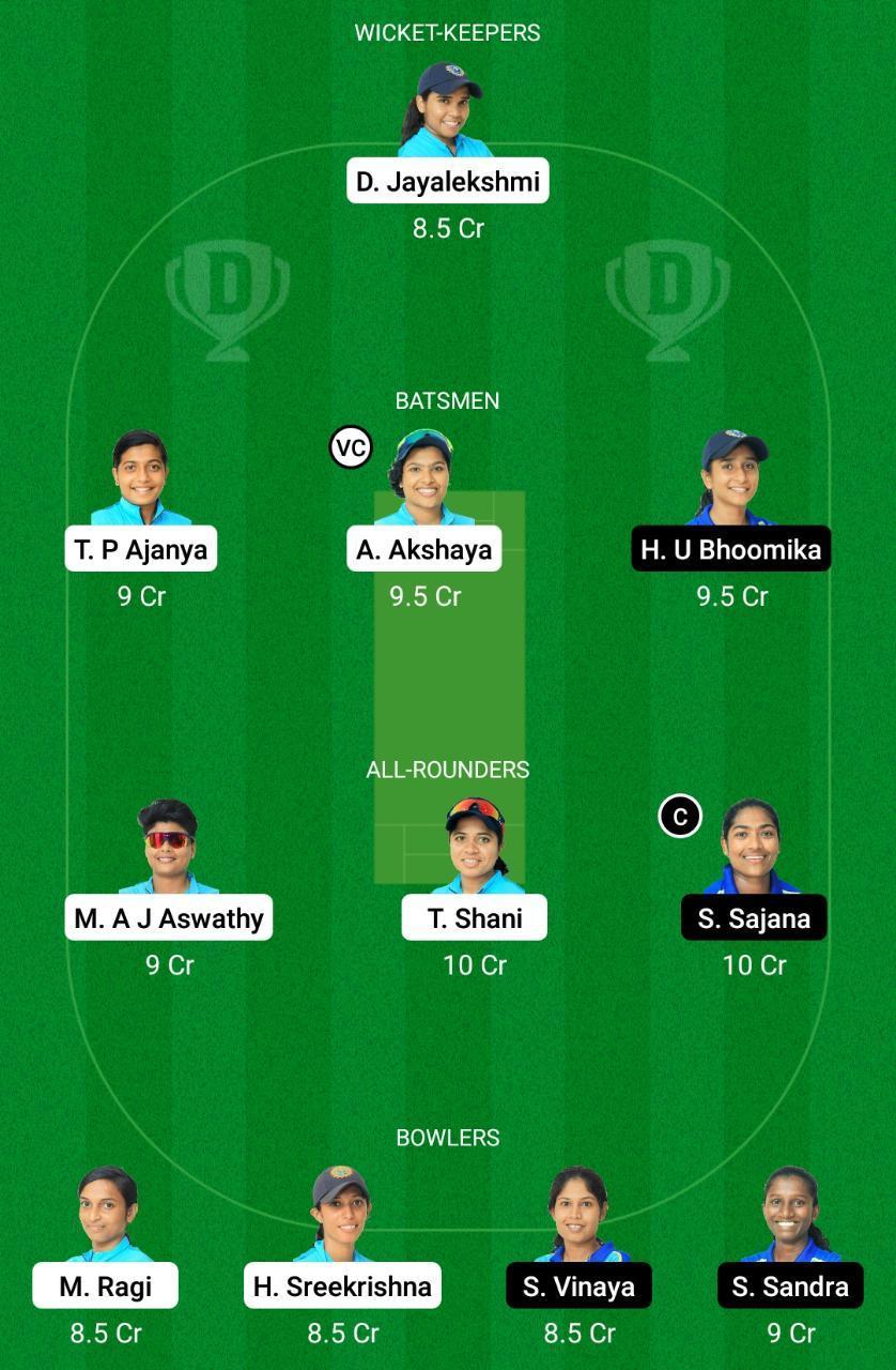 RUB vs SAP Dream11 Prediction Fantasy Cricket Tips Dream11 Team Kerala Women's T20 Final