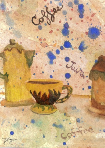 """cricketdiane - original watercolor 2.5"""" x 3.5"""" - coffee themed collectible art cards - 2007 - """"Coffee Set"""" by Cricket Diane C Phillips"""