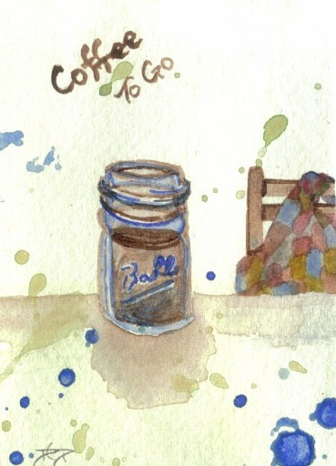 """cricketdiane - original watercolor 2.5"""" x 3.5"""" coffee themed collectible art cards by Cricket Diane C Phillips - """"Coffee To Go"""" - 2007 -"""