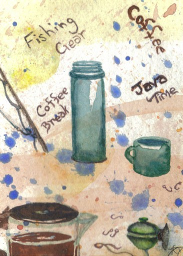 """cricketdiane - original watercolor 2.5"""" x 3.5"""" coffee themed collectible art cards by Cricket Diane C Phillips - """"Fishing Gear"""" - 2007 -"""