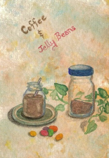 """cricketdiane - coffee themed original watercolor collectible art trading cards - 2007 - """"Coffee and Jelly Beans Breakfast"""""""