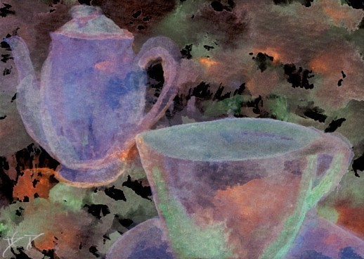 """cricketdiane - original watercolor collectible coffee cards with effects filters to shift designs - 2007 - by Cricket Diane C Phillips - """"Kaffee Klatsch 3"""""""