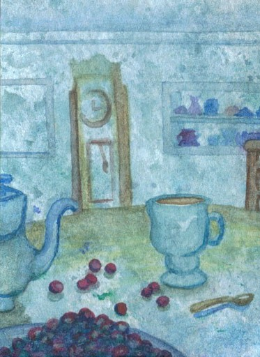 """cricketdiane - original watercolor 2.5"""" x 3.5"""" - coffee themed collectible art trading cards - """"Coffee Snack"""" - 2007 by Cricket Diane C Phillips"""