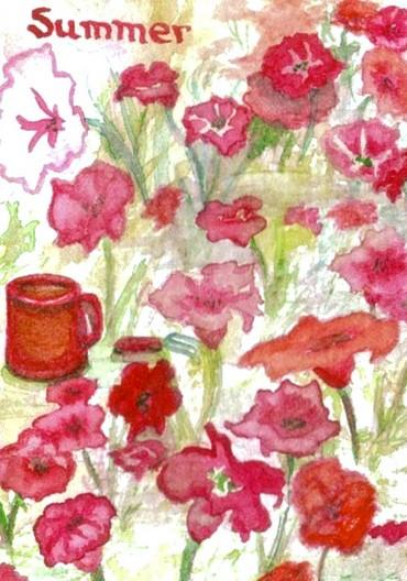 "cricketdiane - Seasons coffee themed art trading card - original watercolor - ""Summer"" - 2007"