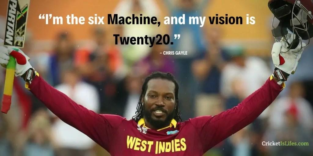 I'm the six Machine, and my vision is Twenty20.