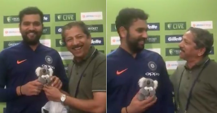 Rohit Sharma with Indian journalist