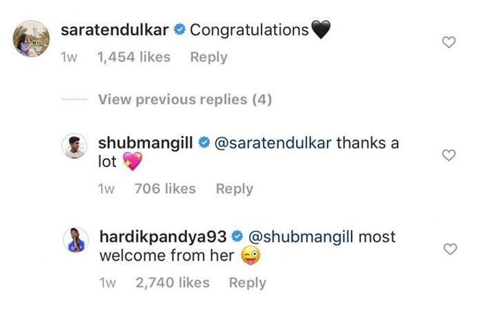 Sara Tendulkar instagram comment