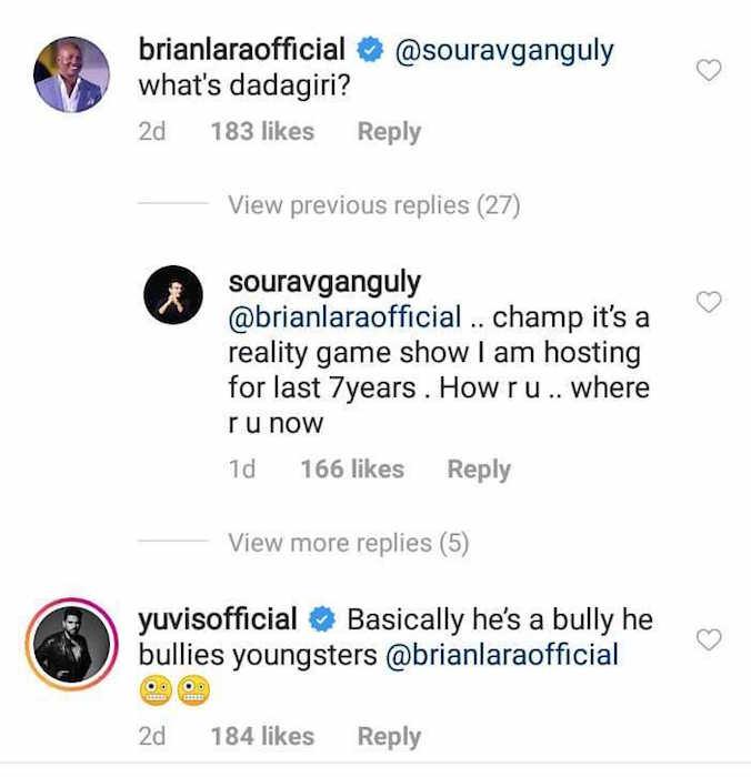 Brian Lara, Sourav Ganguly, Yuvraj Singh instagram