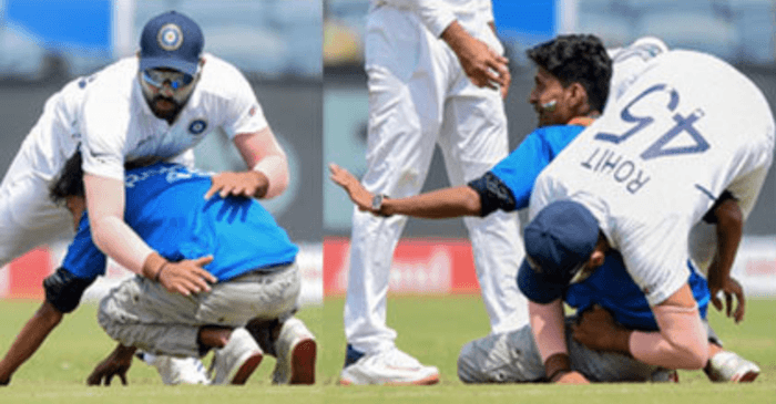 Rohit Sharma falls as a fan touches his feet