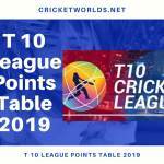 T 10 Points Table 2019 With Match To Match