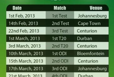 Pakistan Vs South Africa Fixtures 2013