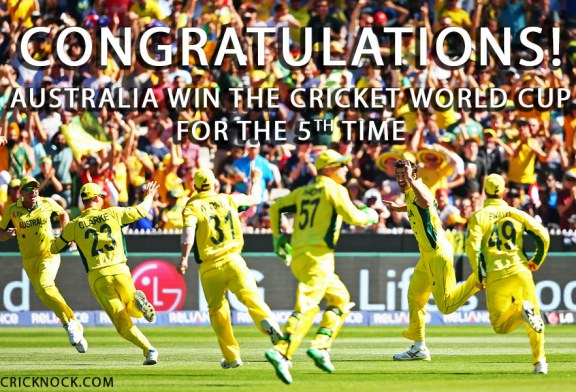 Australia Win Cricket World Cup for the 5th Time