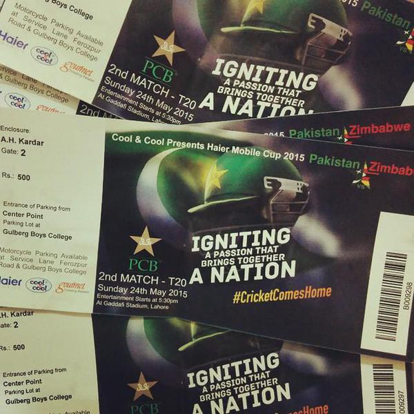 Tickets for Pakistan vs Zimbabwe matches at Gaddafi Cricekt Stadium