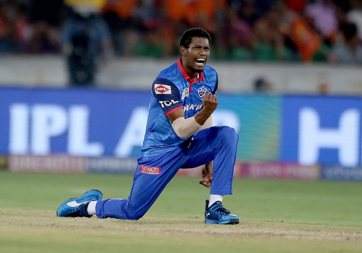 Delhi Capitals' Keemo Paul celebrates the dismissal of Sunrisers Hyderabad's Kane Williamson