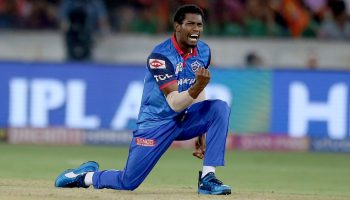Delhi Capitals' Keemo Paul celebrates the dismissal of Sunrisers Hyderabad's Kane Williamson
