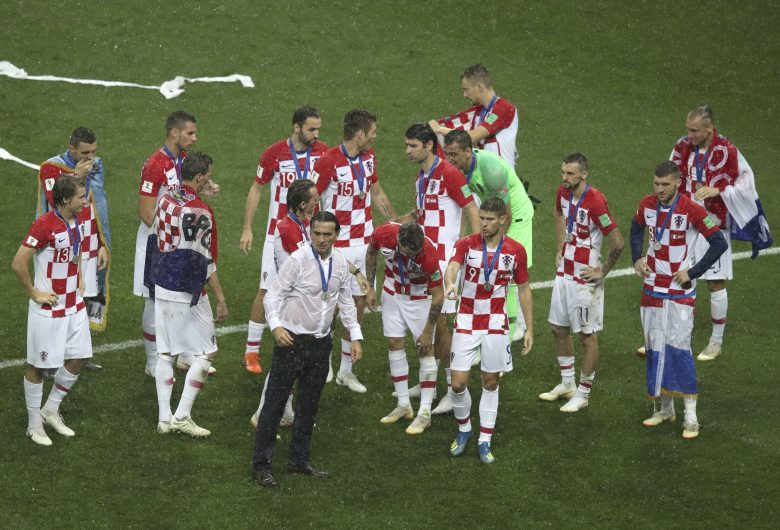 Croatia players react at the end of the final match between France and Croatia at the 2018 soccer World Cup in the Luzhniki Stadium in Moscow