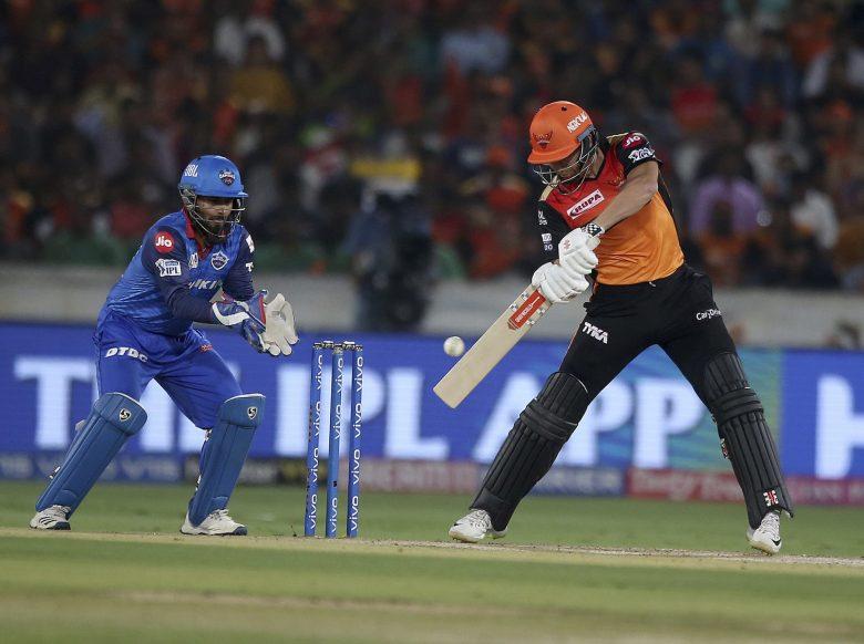Sunrisers Hyderabad's Jonny Bairstow plays a shot during the VIVO IPL T20 cricket match