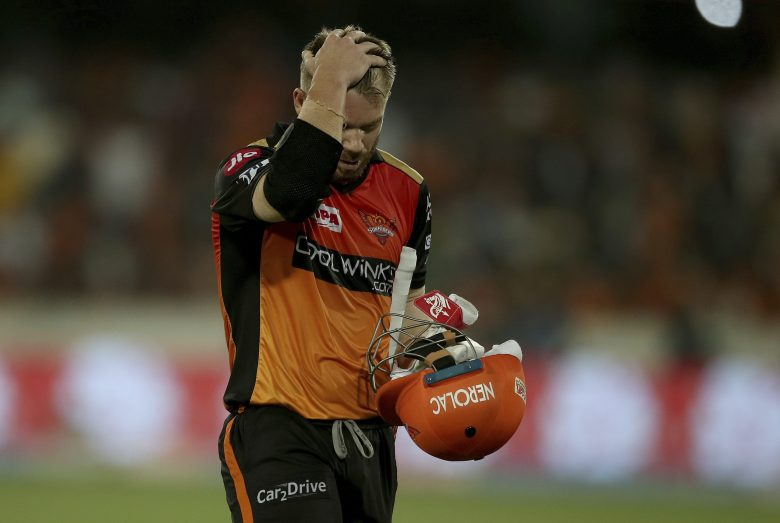 Sunrisers Hyderabad's David Warner reacts while leaves the field after being dismissed