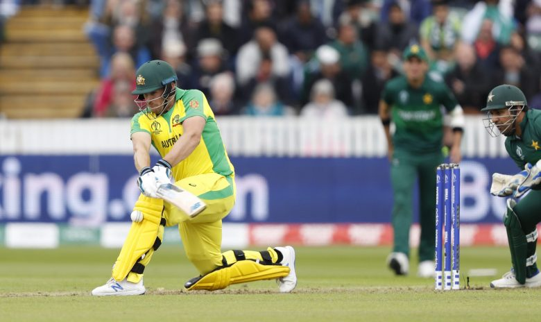 Australia's captain Aaron Finch attemptsto play a shot off the bowling of Pakistan's Mohammad Hafeez