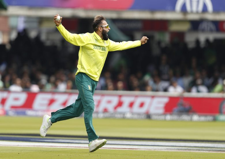 South Africa's Imran Tahir appeals for a catch, but it was given not out