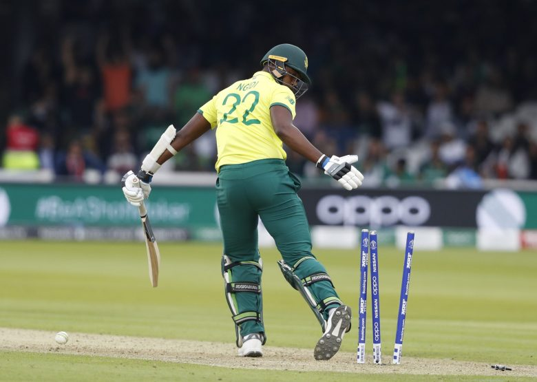 South Africa's Lungi Ngidi looks round after being clean bowled by Pakistan's Wahab Riaz