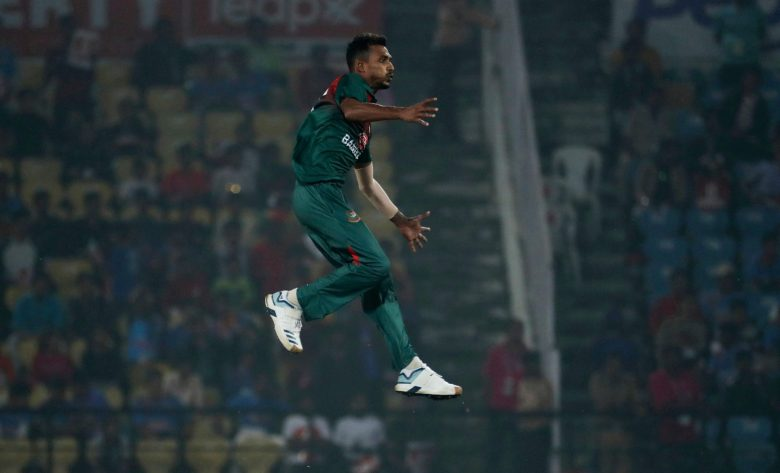 Bangladesh bowler Shafiul Islam jumps in the air wrongly anticipating a wicket