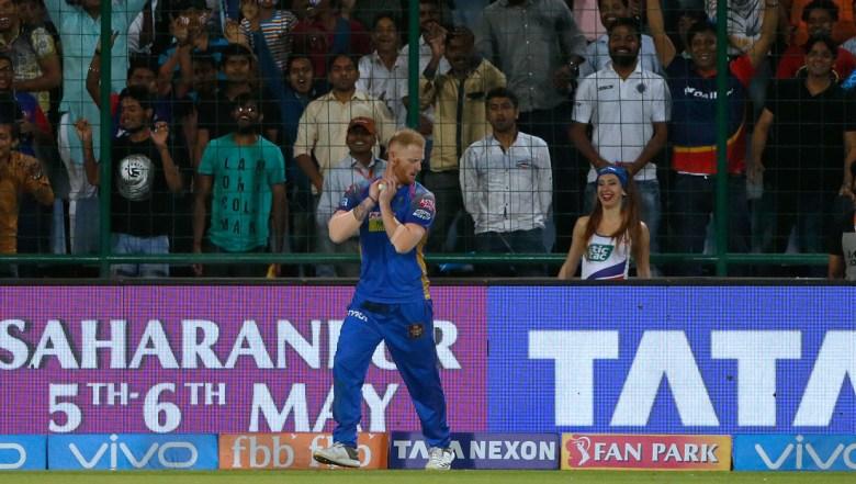 Rajasthan Royals' Ben Stokes takes a catch to dismiss Delhi Daredevils' Rishabh Pant