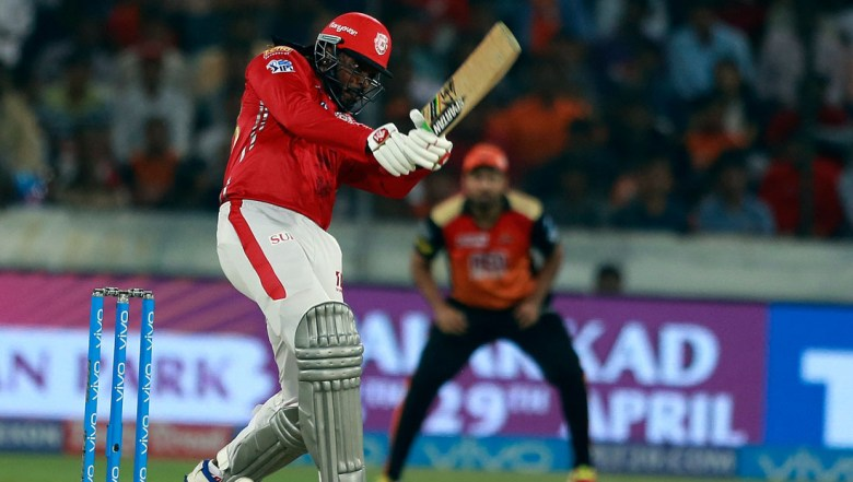 Kings XI Punjab player Chris Gayle bats