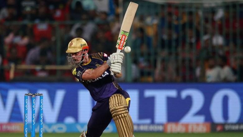 Kolkata Knight Riders' Chris Lynn plays a shot during the VIVO IPL Twenty20 cricket match against Royal Challengers Bangalore