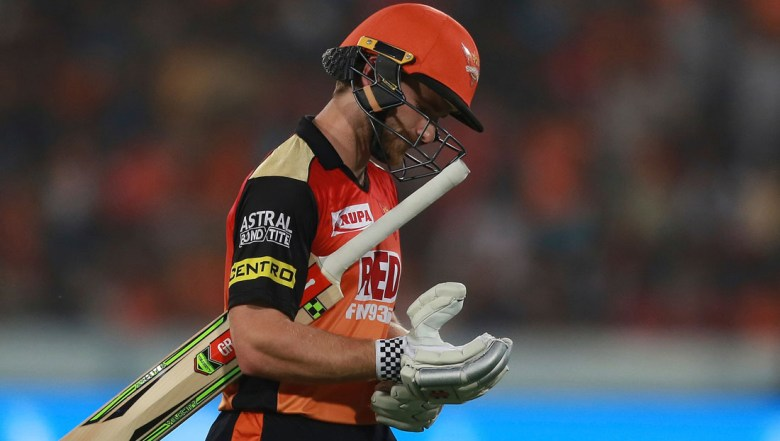 Sunrisers Hyderabad player Kane Williamson returns to pavilion after being dismissed by Kings XI Punjab's Ankit Rajpoot