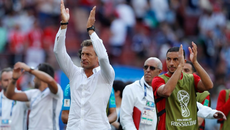 Morocco coach Herve Renard acknowledges the fans after losing the group B match between Portugal and Morocco at the 2018 soccer World Cup in the Luzhniki Stadium in Moscow