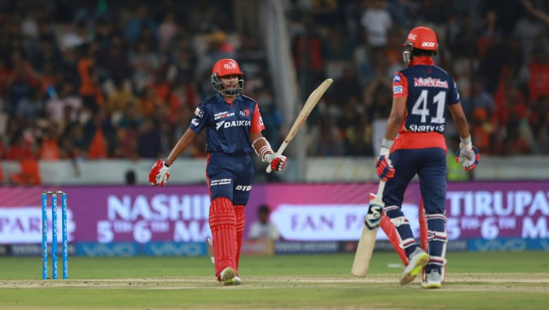 Delhi Daredevils player Prithvi Shaw raises his bat after scoring fifty runs during VIVO IPL cricket T20 match against Sunrisers Hyderabad