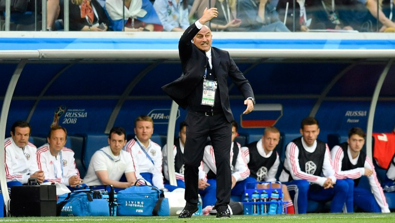 Russia head coach Stanislav Cherchesov gestures during the group A match between Russia and Egypt at the 2018 soccer World Cup in the St. Petersburg stadium in St. Petersburg