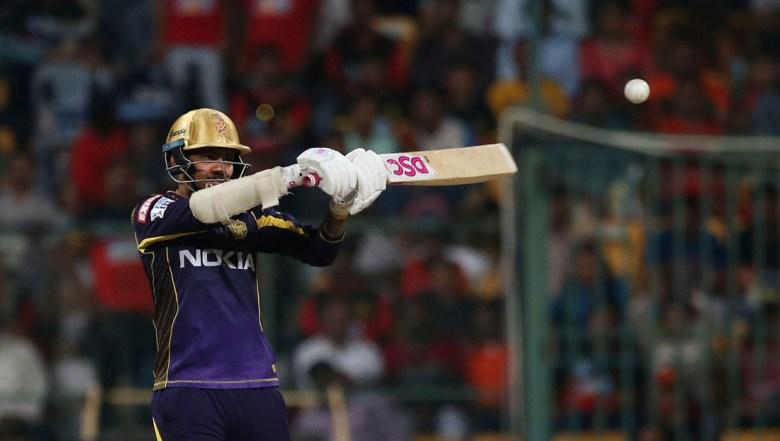 Kolkata Knight Riders' Sunil Narine plays a shot during the VIVO IPL Twenty20 cricket match against Royal Challengers Bangalore