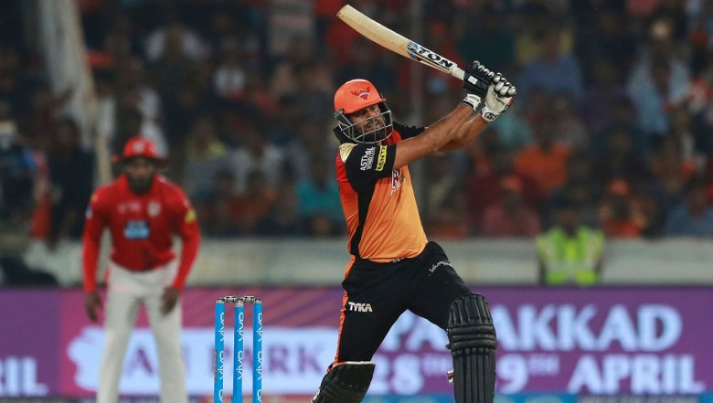 Sunrisers Hyderabad player Yusuf Pathan bats