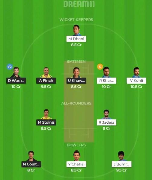 भारत vs ऑस्ट्रेलिया, ड्रीम 11