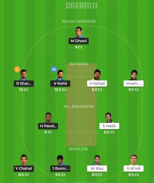 भारत vs पाकिस्तान मैच की बेस्ट ड्रीम 11