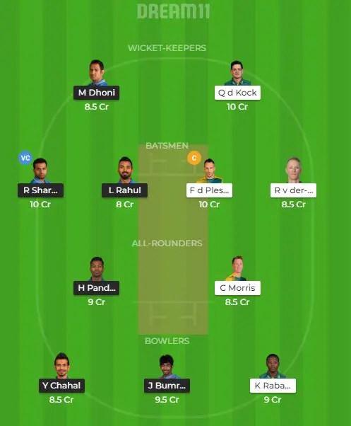भारत vs दक्षिण अफ्रीका ड्रीम 11
