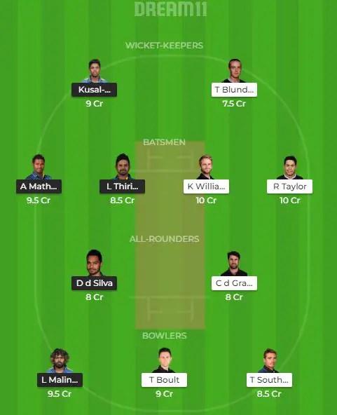 न्यूजीलैंड vs श्रीलंका ड्रीम टीम