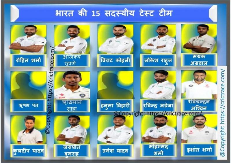 वेस्टइंडीज दौरे पर टेस्ट के लिए 15 सदस्यीय भारतीय क्रिकेट टीम