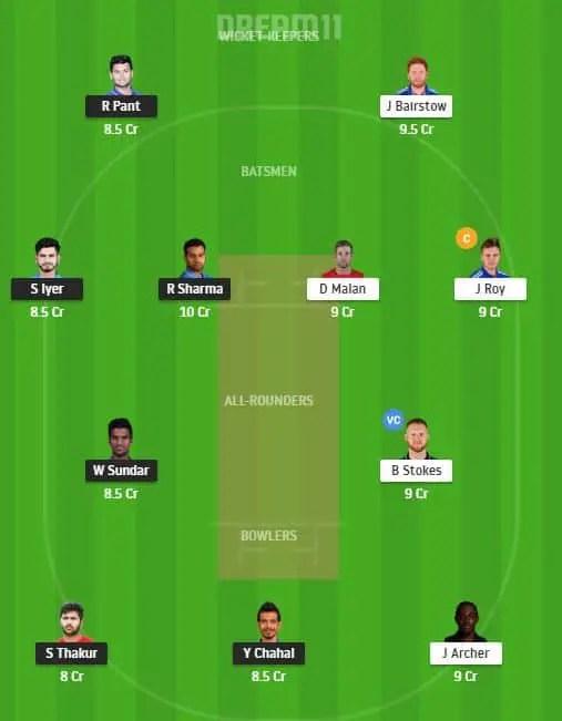 IND vs ENG 3rd T-20 Dream11 Team