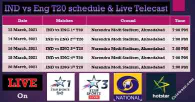 Ind vs Eng T20 schedule & Live