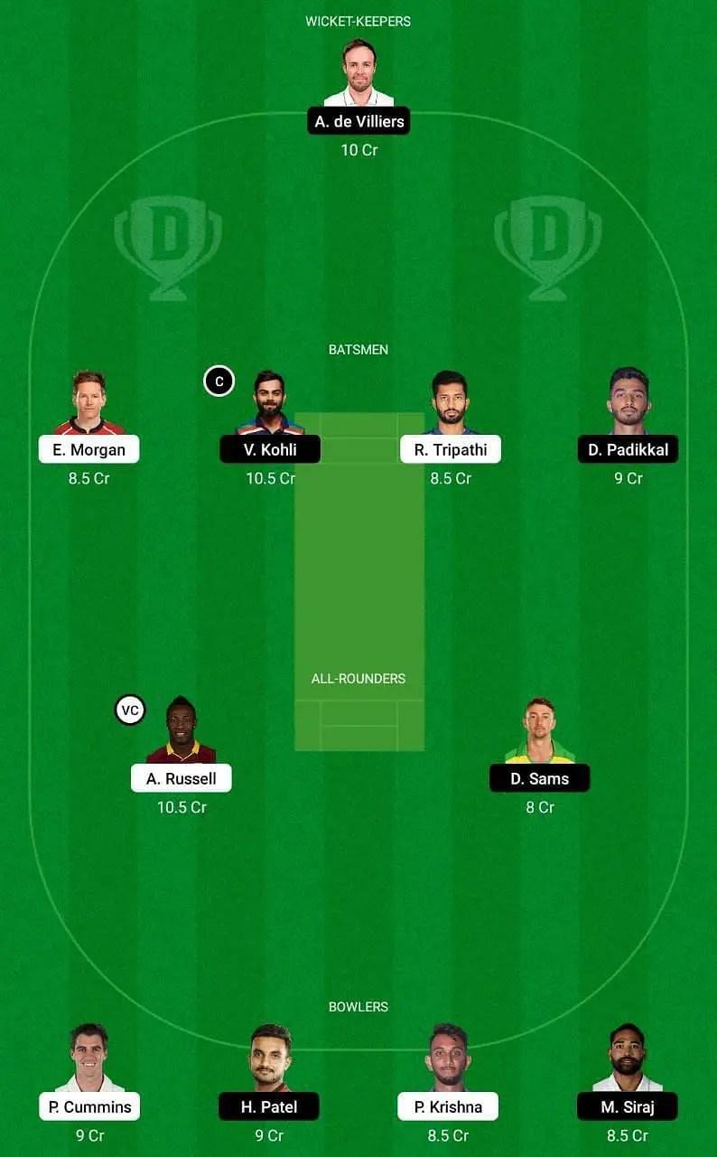 IPL 2021 30th Match KKR vs RCB Dream11
