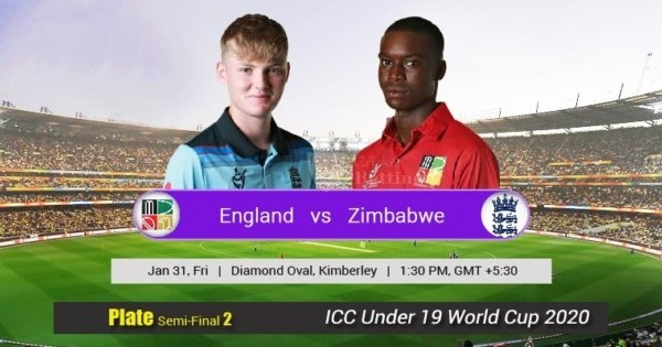 ENG U19 vs ZIM U19 Live Score Plate Semi-Final 2 of U19 WC between Sri Lanka U19 vs Scotland U19 on 31 January 2020 Live Score & Live Streaming