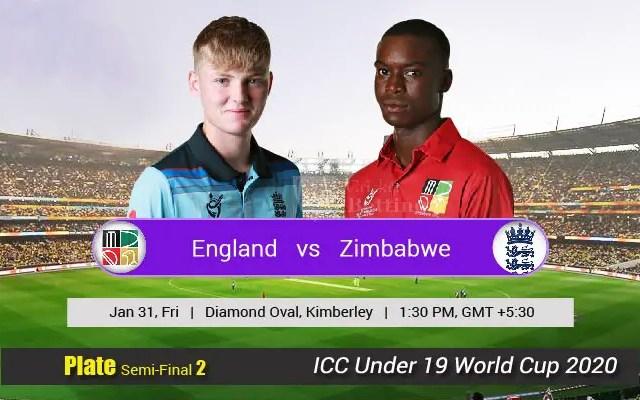 ENG U19 vs ZIM U19Live Score Plate Semi-Final 2 of U19 WC between Sri Lanka U19 vs Scotland U19 on 31 January 2020 Live Score & Live Streaming