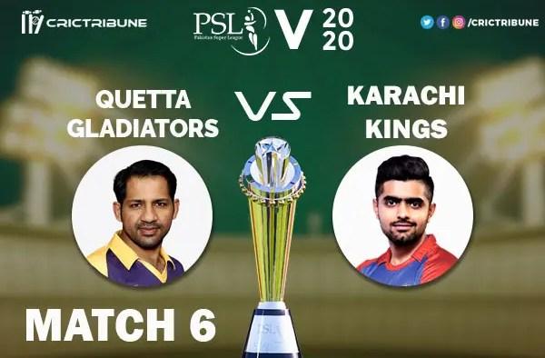 KAR vs QUE Live Score 6th Match between hi Kings vs Quetta Gladiators Live on 23 February 2020 Live Score & Live Streaming